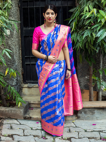 Blue Color Banarasi Silk Women's Saree - 39465