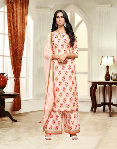 Cream Color Masline Silk UnStitched Salwar  - 3DIAN047
