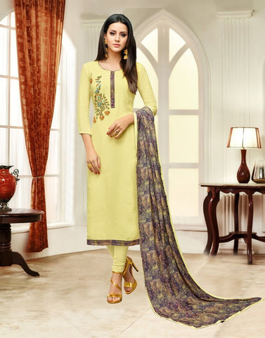 Yellow Color Masline Silk UnStitched Salwar  - 3DIAN048