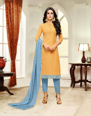 Yellow Color Masline Silk UnStitched Salwar  - 3DIAN050