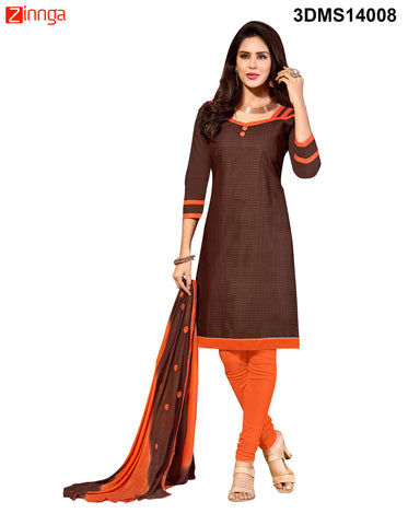 Brown Color Chanderi Jackard Dress Material - 3DMS14008
