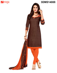 Brown Color Chanderi Jackard Dress Material