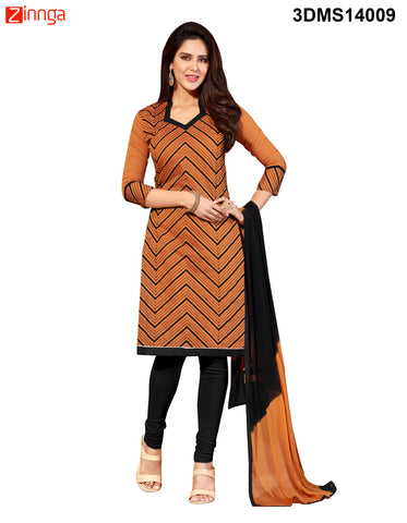 Brown Color Chanderi Jackard Dress Material - 3DMS14009