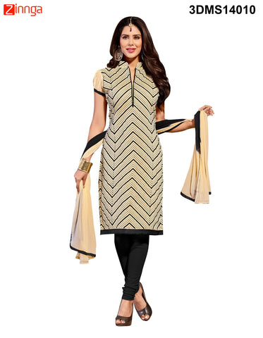 Beige Color Chanderi Jackard Dress Material - 3DMS14010