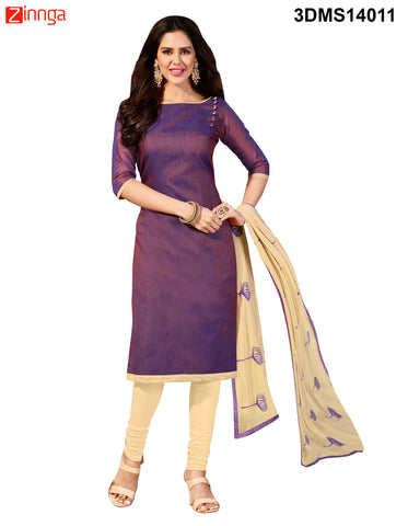 Purple Color Chanderi Jackard Dress Material - 3DMS14011