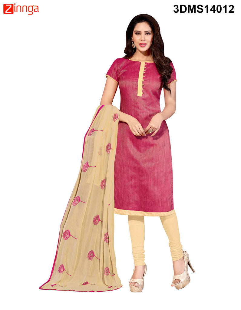 Pink Color Chanderi Jackard Dress Material