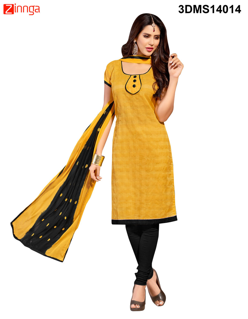 Yellow Color Chanderi Jackard Dress Material