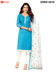 Sky Blue Color Chanderi Jackard Dress Material