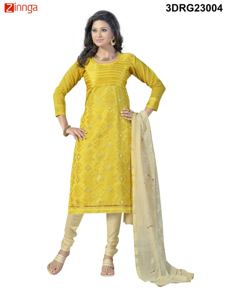 Yellow Chanderi and Banarasi Dress Material