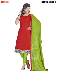 Red Chanderi and Banarasi Dress Material