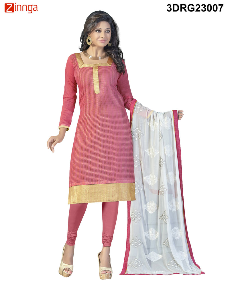 Pink Chanderi and Banarasi Dress Material