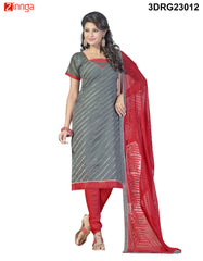 Grey Chanderi and Banarasi Dress Material