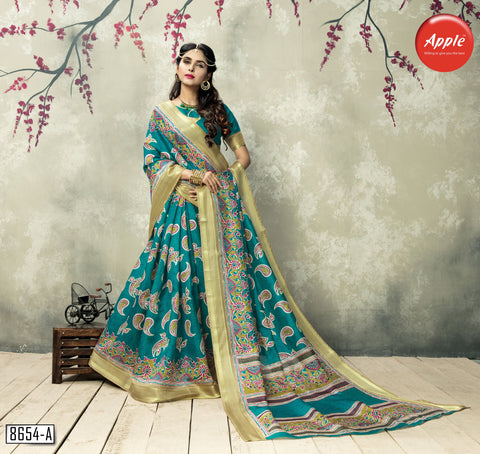 Teal Green Color ArtSilk Saree - 3KLM8654-A