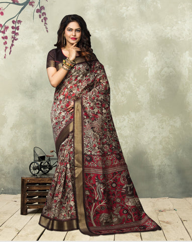 Brown and Red Color ArtSilk Saree - 3KLM8655B