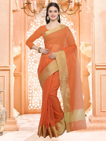 Orange Color Linen Silk Saree - 3LNN301