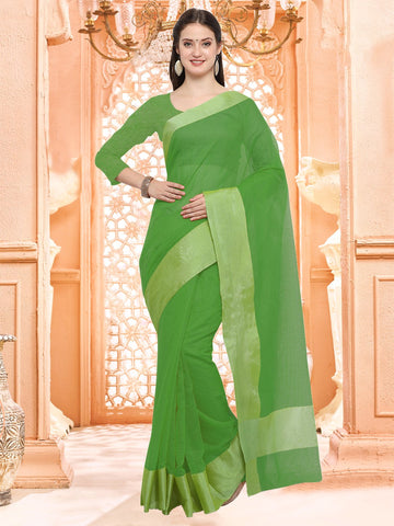 Green Color Linen Silk Saree - 3LNN302