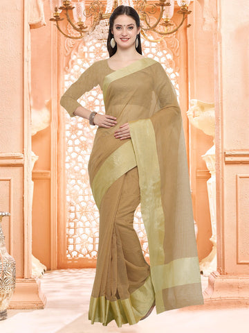 Beige Color Linen Silk Saree - 3LNN304