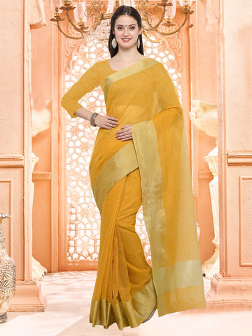 Yellow Color Linen Silk Saree - 3LNN306