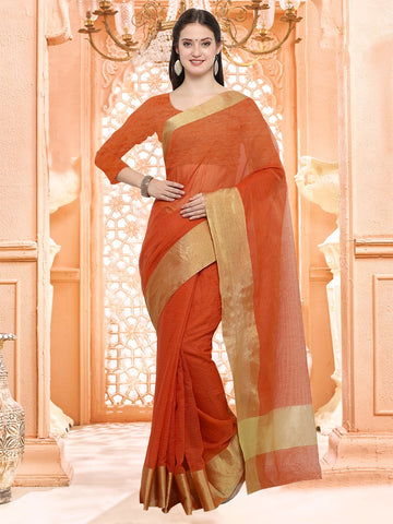 Orange Color Linen Silk Saree - 3LNN307