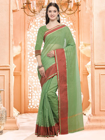 Green Color Linen Silk Saree - 3LNN308
