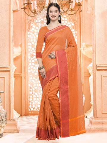 Orange Color Linen Silk Saree - 3LNN310