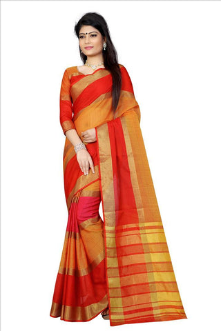 Orange And Pink Color Poly Cotton Saree - 3PATTARED