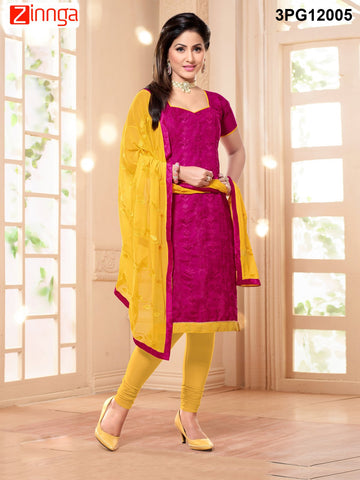 Red Color Chanderi Banarasi Jackard Unstitched Salwar - 3PG12005