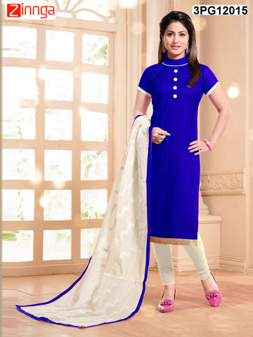 Blue Color Chanderi Banarasi Jackard Unstitched Salwar - 3PG12014