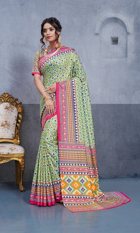 Multi Color Dhakai Silk Saree - 3DHKIS7602