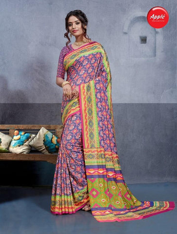 Multi Color Dhakai Silk Saree - 3DHKIS7604