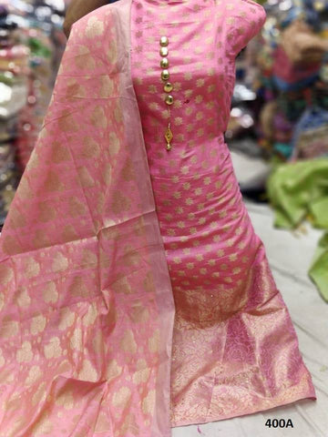 Royal Pink Color Chanderi Cotton Embroidered Unstitched Salwar - 400A