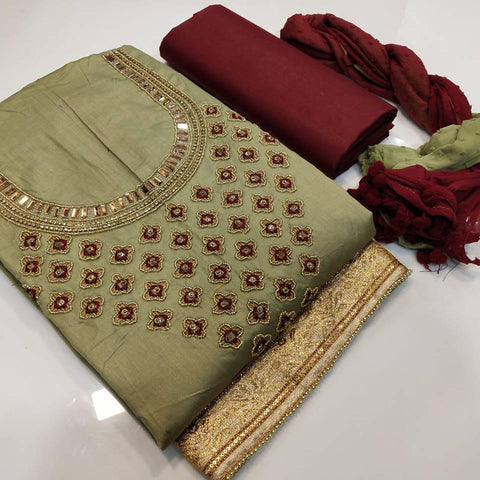 Light Olive Color Chanderi Cotton Embroidered Unstitched Salwar - 406E
