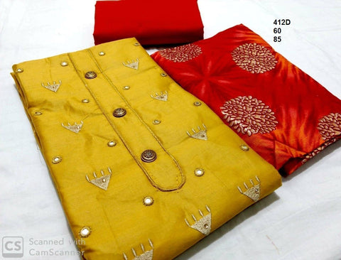 Mustard Color Chanderi Cotton Embroidered Unstitched Salwar - 412D
