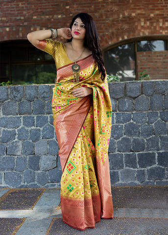 Yellow Color Banarasi Patola Silk Women's Saree - 44584