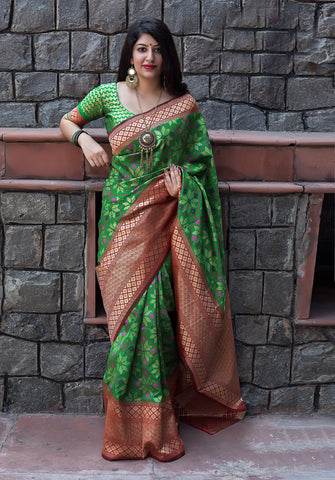 Green Color Banarasi Patola Silk Women's Saree - 44586
