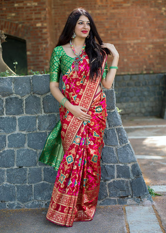 Multi Color Banarasi Patola Silk Women's Saree - 44589