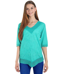Light Green Color Westren  Cotton  Top - SFTOP-453