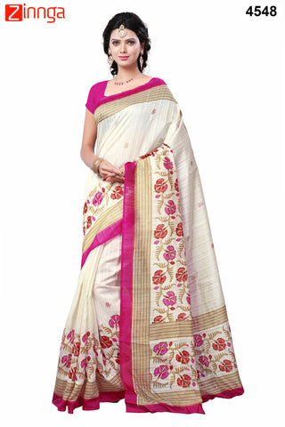 White and Pink Color Bhagalpuri Sarees - 4548