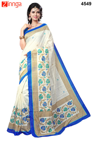 White and Blue Color Bhagalpuri Sarees - 4574