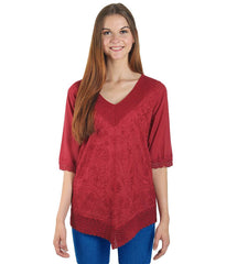 Maroon Color Westren  Cotton  Top - SFTOP-456