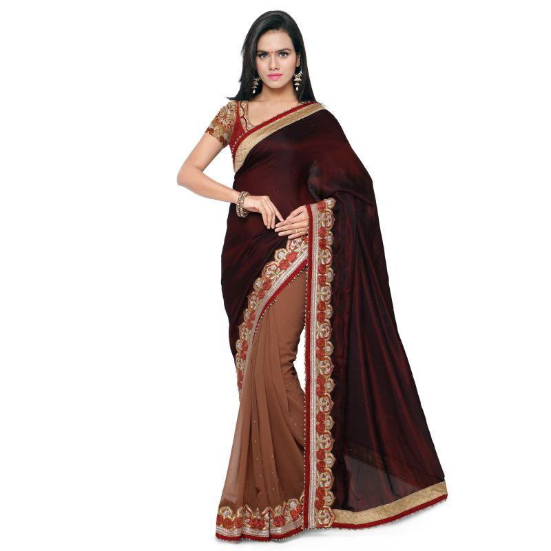 Maroon Color Satin Saree