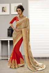Beige Color Chiffon Saree