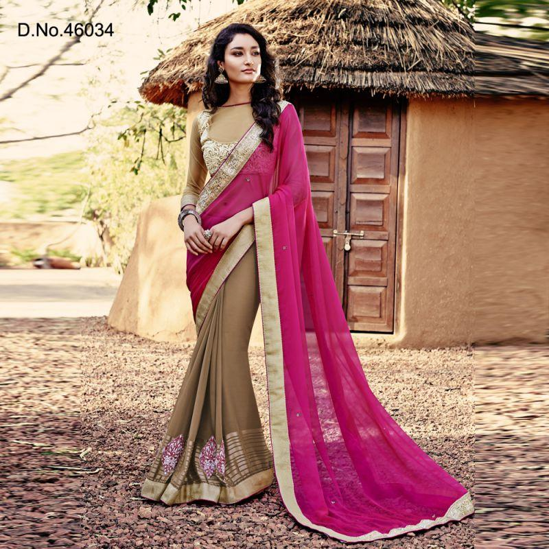 Magenta Color Georgette Saree