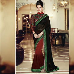 Black Color Silk Blend Saree