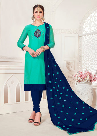 Aqua Green Color Model Silk Women's Semi-Stitched Salwar Suit - 46373