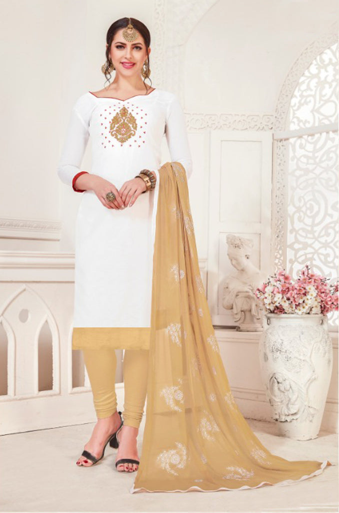 Buy White Color Model Silk Women's Semi-Stitched Salwar Suit