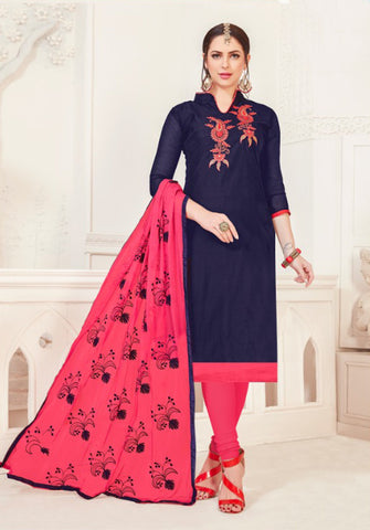 Navy Blue Color Model Silk Women's Semi-Stitched Salwar Suit - 46378