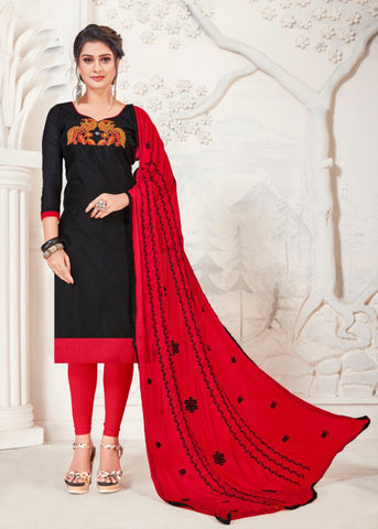Black Color Model Silk Women's Semi-Stitched Salwar Suit - 46379
