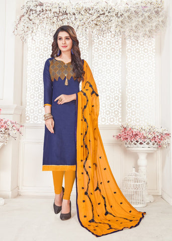 Navy Blue Color South Cotton Women's Semi-Stitched Salwar Suit - 46380