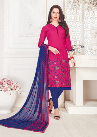 Magenta Color South Cotton Women's Semi-Stitched Salwar Suit - 46384